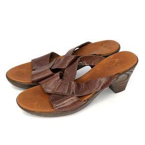 """Munro American Sandals Strappy Slides 3"""" Heels"""